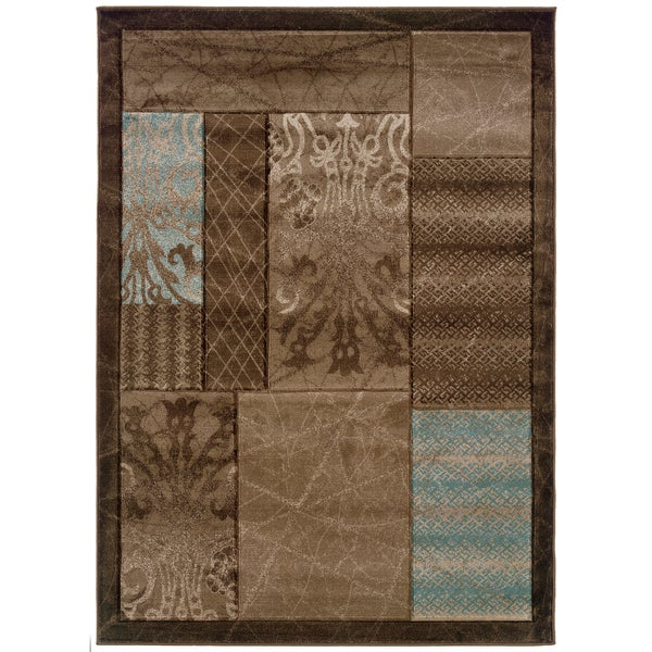 Linon Milan Collection Brown/ Aqua Area Rug - 8' x 10'3