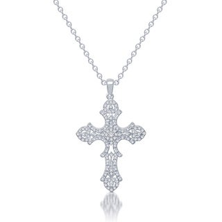 Unending Love 10k White Gold 2/5ct TDW Diamond Vintage-inspired Cross Necklace (I-J, I2-I3)