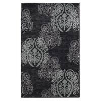 Linon Charcoal/ Aqua Damask Print Area Rug (1'10 x 2'10)