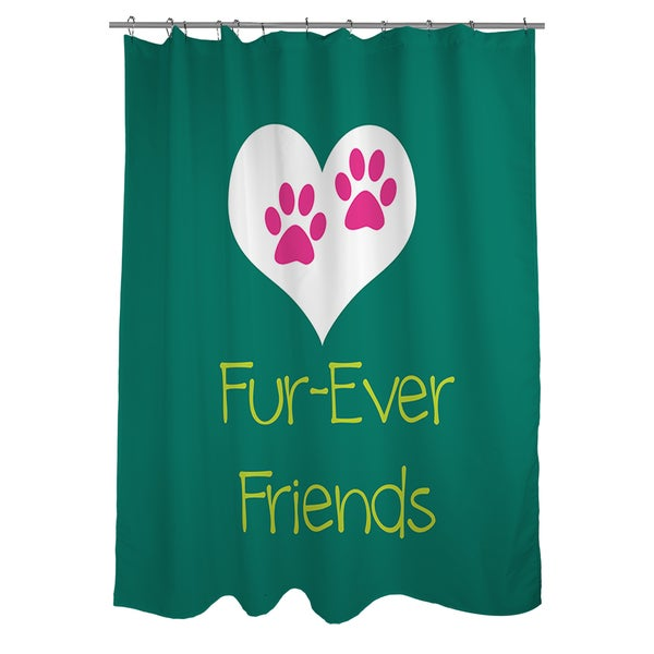 Forever Friends Teal Shower Curtain