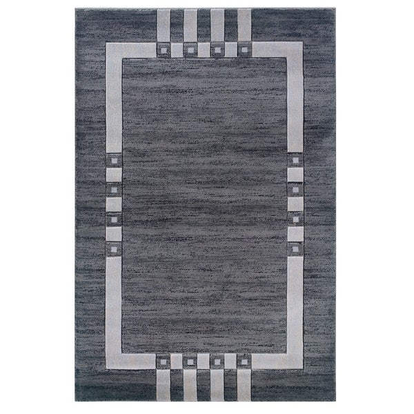 Linon Charcoal/ Ivory Bordered Area Rug - 8' x 10'3