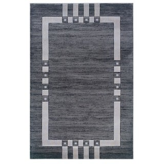 Linon Charcoal/ Ivory Bordered Area Rug (8' x 10'3)