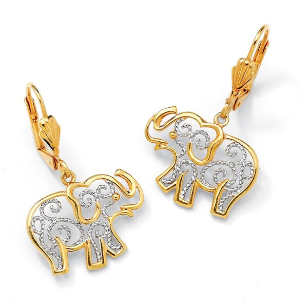 Yellow Gold-Plated Filigree Elephant Drop Earrings (38x17.5mm)
