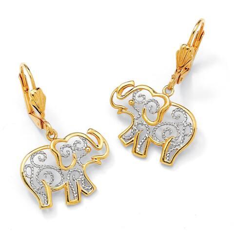 Yellow Gold-Plated Filigree Elephant Drop Earrings (38x17.5mm)