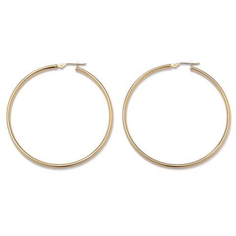 10k Yellow Gold Tubular Hoop Earrings 50 mm Diameter Tailored
