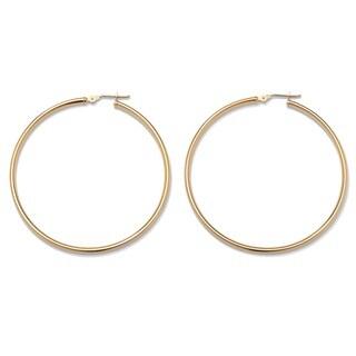 PalmBeach 10k Yellow Gold Tubular Hoop Earrings 50 mm Diameter Tailored