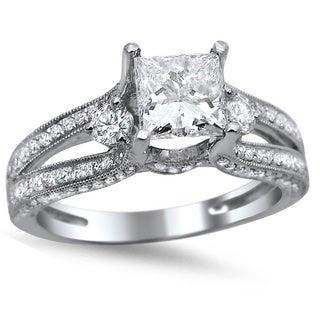Noori 14k White Gold 1 1/2ct TDW Princess-cut Diamond Engagement Ring (G-H, SI1-SI2)