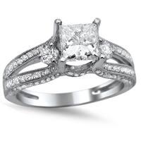 Noori 14k White Gold 1 1/2ct TDW Princess-cut Diamond Engagement Ring