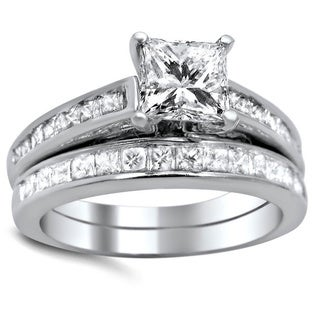 Noori 14k White Gold 1 5/8ct TDW Princess-cut Diamond Bridal Set