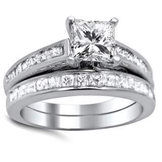 Noori 14k White Gold 1 5/8ct TDW Princess-cut Diamond Bridal Set|https://ak1.ostkcdn.com/images/products/9361216/P16553483.jpg?impolicy=medium