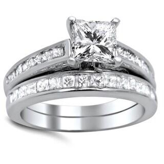 Noori 14k White Gold 1 5/8ct TDW Princess-cut Diamond Bridal Set