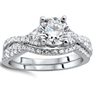 Noori 18k White Gold 1 1/4ct Clarity-enhanced Round-cut Diamond Bridal Set