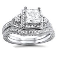 Noori 14k White Gold 1 1/10ct TDW Clarity-enhanced Diamond Bridal Set