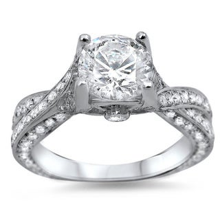 Noori 14k White Gold 1 1/3ct TDW Clarity-enhanced Diamond Engagement Ring