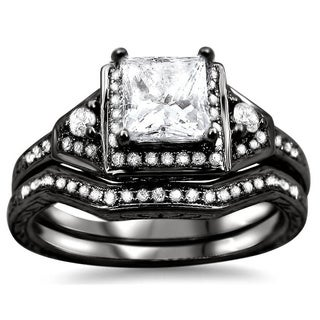 Noori 14k Black Gold 1ct TDW Princess-cut Diamond Bridal Set (G-H, SI1-SI2)