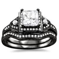 Noori 14k Black Gold 1ct TDW Princess-cut Diamond Bridal Set