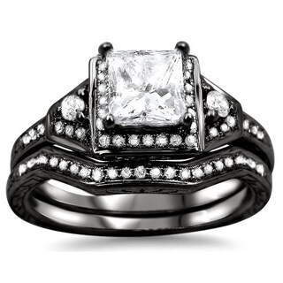Noori 14k Black Gold 1ct TDW Princess-cut Diamond Bridal Set