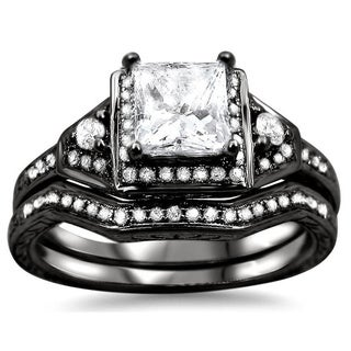Noori 14k Black Gold 1 1/10ct TDW Clarity-enhanced Diamond Bridal Set (G-H, SI1-SI2)