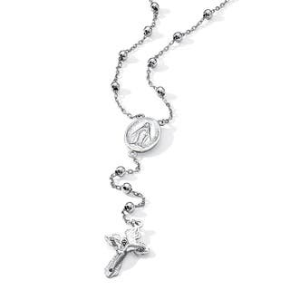 Rosary-Style Beaded Necklace in Sterling Silver Tailored|https://ak1.ostkcdn.com/images/products/9361234/P16553495.jpg?impolicy=medium
