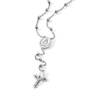 Rosary-Style Beaded Necklace in Sterling Silver Tailored