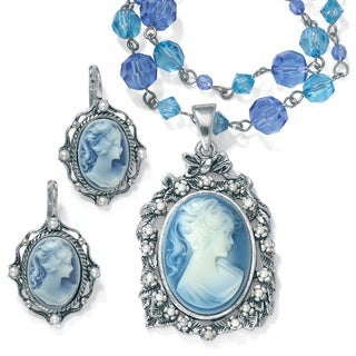Simulated Pearl and Lucite Cameo Two-Piece Necklace and Earrings Set in Antiqued Silverton