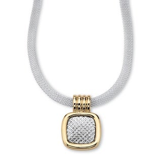 PalmBeach Mesh Pendant and Necklace in Yellow Gold Tone and Silvertone Tailored