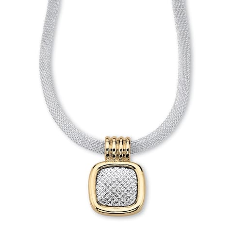 Gold Tone Two Tone Diamond Cut Slide Pendant (19.5mm)