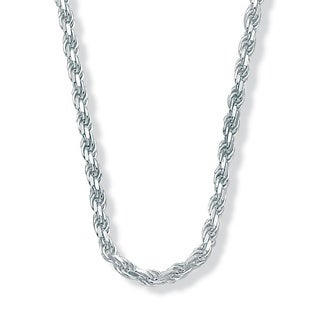 """Sterling Silver Diamond-Cut Rope Chain Necklace 20"""" Tailored"""
