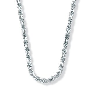 """Sterling Silver Diamond-Cut Rope Chain Necklace 20"""" Tailored