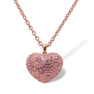 "Pink Crystal Puffed Heart-Shaped Pendant Necklace Rose Gold-Plated 28"" Color Fun"