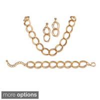 3 Piece Double Curb-Link Necklace, Bracelet and Earrings Set