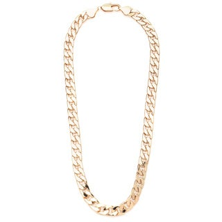 "PalmBeach Curb-Link Necklace in Yellow Gold Tone 24"" Tailored"