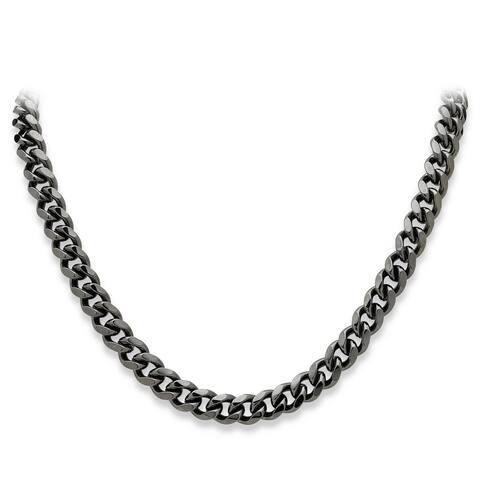 "Men's Black Ruthenium-Plated Curb-Link Chain Necklace (10.5mm), 24"""