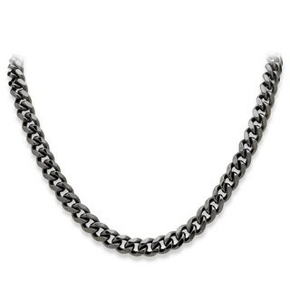 PalmBeach Men's Black Rhodium-Plated Curb-Link 10.5 mm Necklace Chain 24""