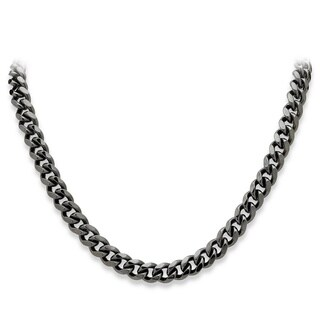 """Men's Black Rhodium-Plated Curb-Link 10.5 mm Necklace Chain 24"""""""