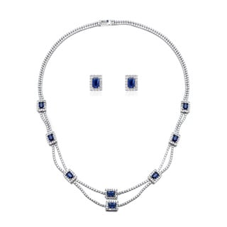 Blue Box Jewels Rhodium-plated Sterling Silver Emerald-cut Deep Blue Stone Necklace and Earring Set