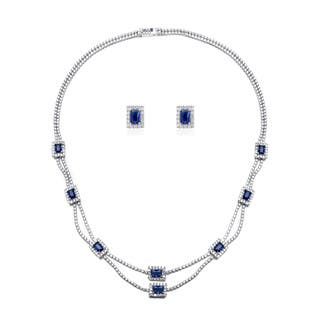 Blue Box Jewels Rhodium-plated Sterling Silver Emerald-cut Deep Blue Stone Necklace and Earring Set https://ak1.ostkcdn.com/images/products/9361275/P16553531.jpg?impolicy=medium