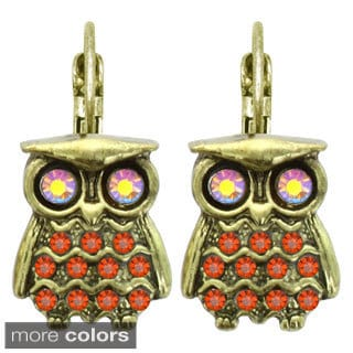 Kate Marie Vintage Owl Design Rhinestone Earrings