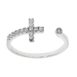 Eternally Haute Sterling Silver Pave Sideways Wrap Around Open Cross Ring