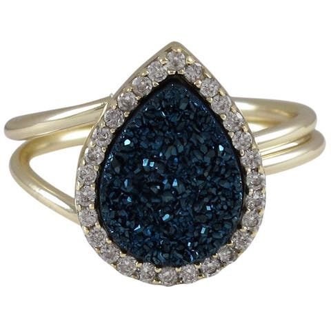 Luxiro Sterling Silver Druzy Quartz and Cubic Zirconia Ring