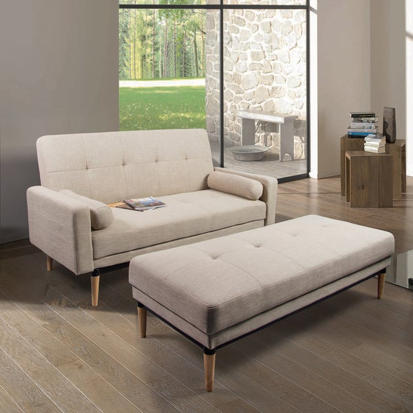 Corvus Leyla Mid Century Style Sofa Bed With Bench