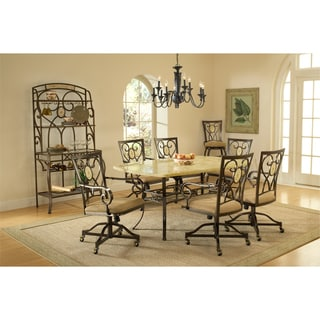 Brookside Stone 7-piece Rectangle Dining Set with Oval Back Caster Chairs