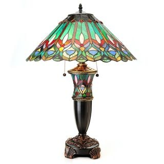 Tiffany-style Double-lit Floral Table Lamp