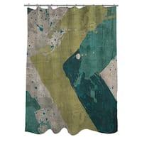 Green Splatter Shower Curtain