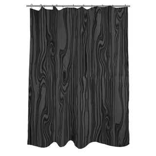 Wood Grain Large Scale Black Shower Curtain