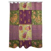 Purple Paisleys and Dots Shower Curtain
