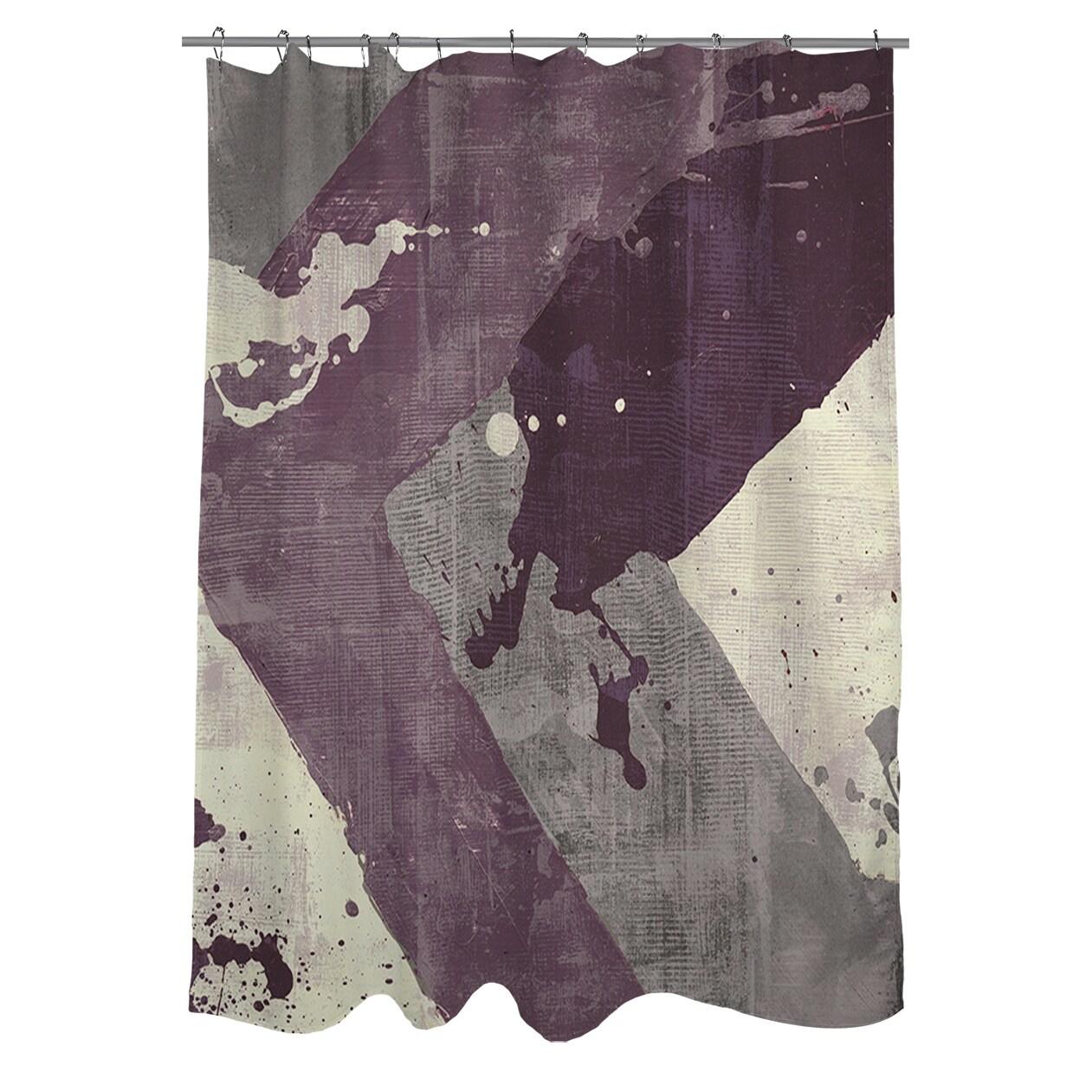 Splatter I Purple Shower Curtain Overstock 9361502