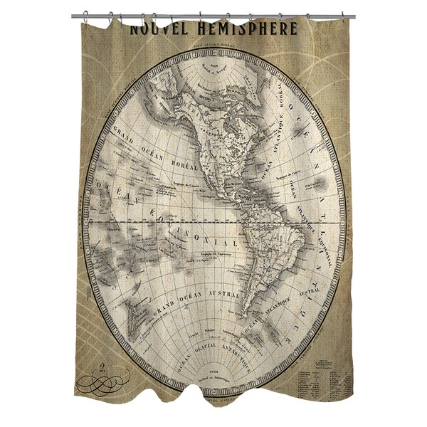 French World Map III Shower Curtain