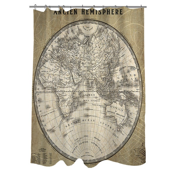 French World Map II Shower Curtain