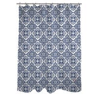 Winter Garden Baroque Navy on White Shower Curtain